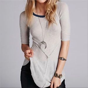 Free People Gray Weekends Layering Knit Top (M)